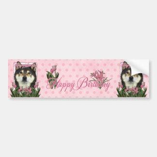 Happy Birthday - Shiba Inus - Yasha Bumper Sticker