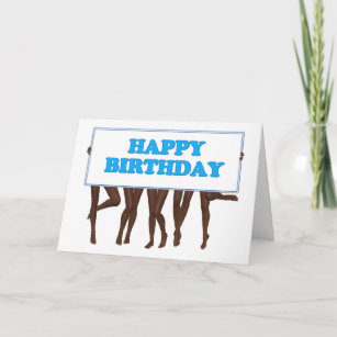 Raunchy cards zazzle happy birthday sign held by a line of girls card m4hsunfo