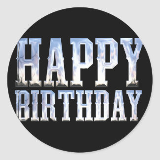 Happy Birthday Silver Chrome Classic Round Sticker