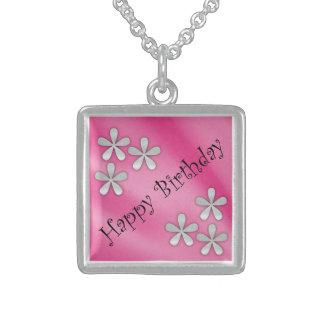 Happy Birthday Silver Necklace