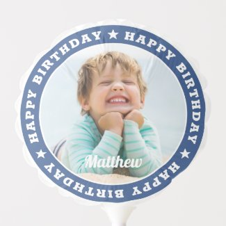 Happy Birthday Simple Modern Custom Photo Balloon