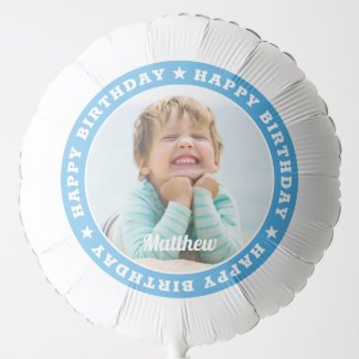 Happy Birthday Simple Modern Custom Photo Balloon