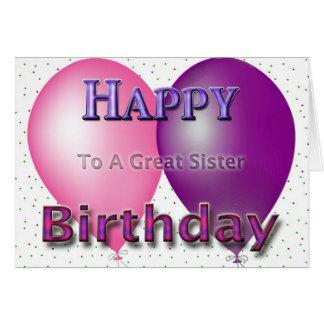 Happy Birthday Sister Balloons Greeting Card