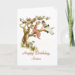 "Happy Birthday Sister Card<br><div class=""desc"">This birthday card is perfect for a special sister. This is a re-colored vintage image of two little girls in Victorian dresses and bonnets sitting on the limb of an apple tree. The text on the front and on the inside can be personalized as desired, making this card suitable for...</div>"