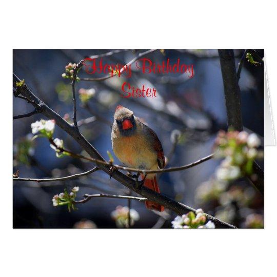 Happy Birthday Sister Female Cardinal Card
