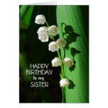 Happy Birthday Sister Lily of the Valley Greeting Cards