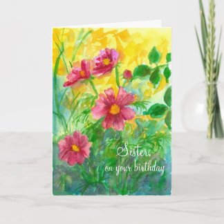 Happy Birthday Sister Pink Cosmos Flowers Card