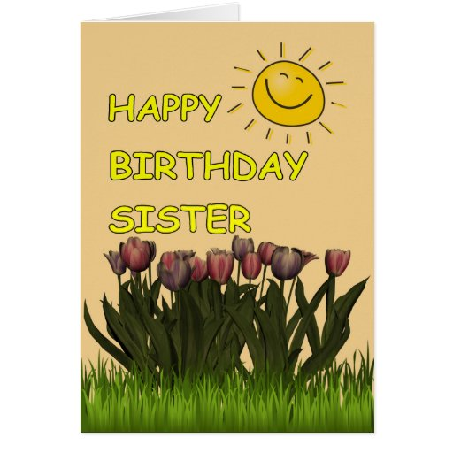 Happy Birthday Sister Sun and Flowers Card