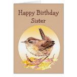 Happy Birthday Sister Watercolor House Wren Bird Card