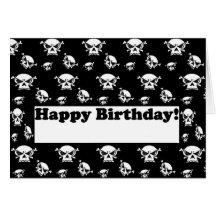 Happy Birthday Skulls Template Card