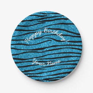 Happy Birthday sky blue glitter zebra stripes 7 Inch Paper Plate