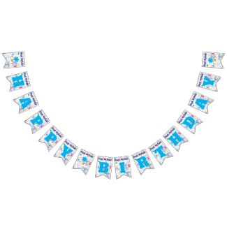 Happy Birthday Sky Blue/Personalize Bunting Flags