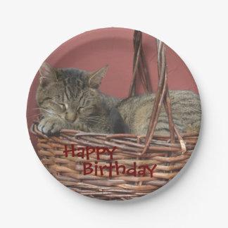 Happy Birthday Sleeping Kitty Paper Plate
