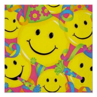 Happy Birthday Smiley Face Poster