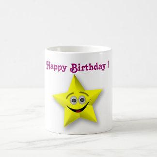 HAPPY BIRTHDAY SMILEY FACE STAR MUG