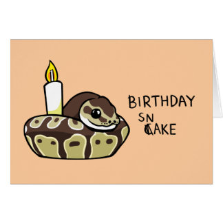 Happy Birthday Snake Cute Ball Python Drawing Card