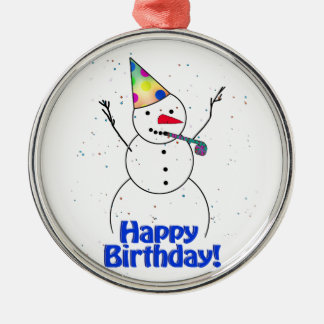 Happy Birthday  Snowman Christmas Tree Ornaments