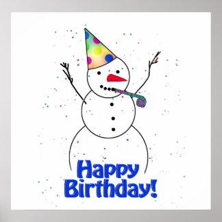 Happy Birthday  Snowman Poster