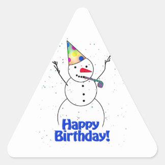 Happy Birthday  Snowman Triangle Stickers