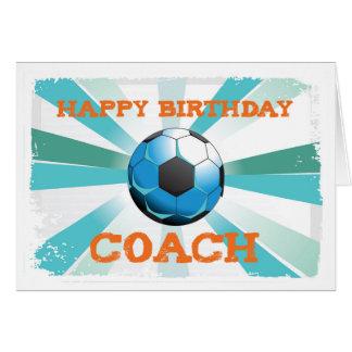 Happy Birthday Soccer Coach Orange on Teal, Blue S Card