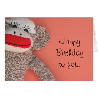 Happy Birthday Sock Monkey Greeting Card