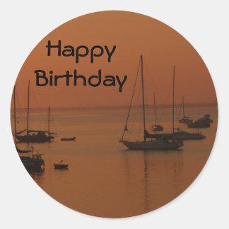 Happy Birthday, soft sunrise with sailboats Sticker