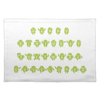 Happy Birthday Software Developer (Bugdroid) Cloth Placemat