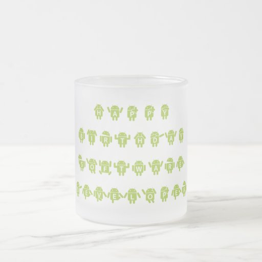 Happy Birthday Software Developer (Bugdroid) 10 Oz Frosted Glass Coffee Mug