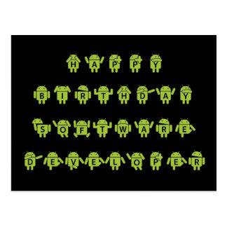 Happy Birthday Software Developer Bugdroid Postcards