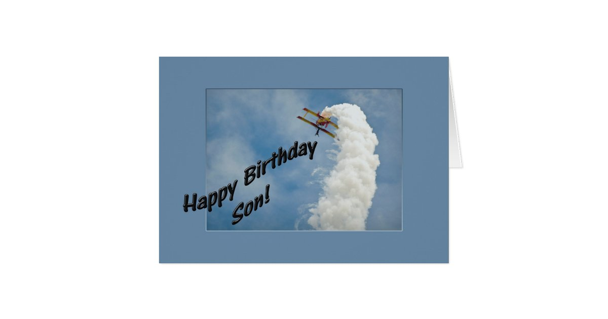 Happy Birthday Son Airplane Flying Upside Down Card ...