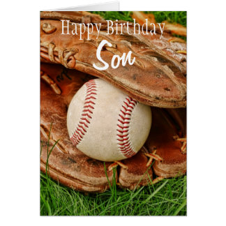 Happy Birthday Son Baseball with Mitt Card