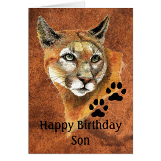 Happy Birthday Son Cougar, Puma, Mountain Lion Ani Stationery Note Card