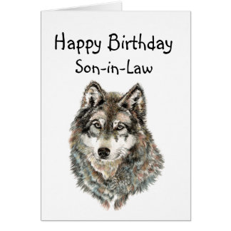 Happy Birthday Son-in-Law Humor Wolf, Wolves Card