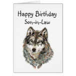 Happy Birthday Son-in-Law Humor Wolf, Wolves Greeting Card