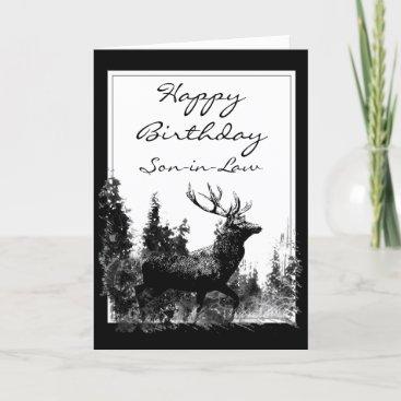 Happy Birthday Son-in-Law Vintage Stag, Deer Card