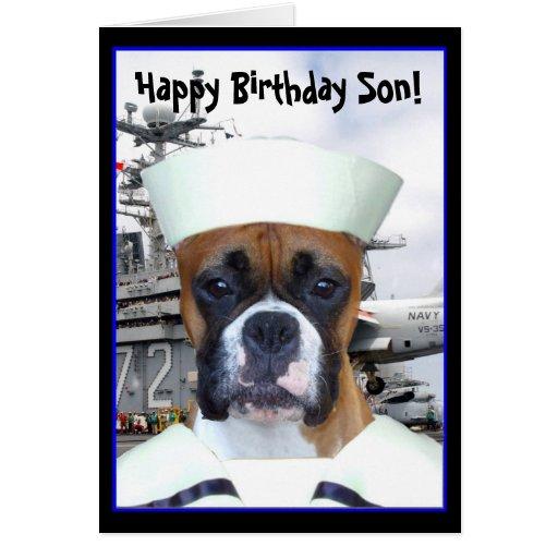 Happy Birthday Son Navy boxer greeting card