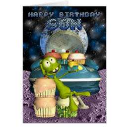 Happy Birthday Son, Out of this world, alien with Card