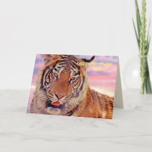 Tiger Big Cat Birthday Personalised Pick Your Occasion Greeting Card Silver Glitter HMBI02