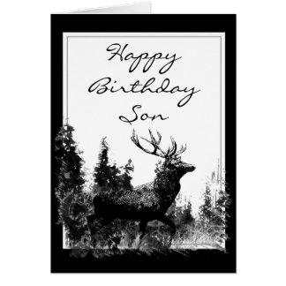 Happy Birthday Son Vintage Stag, Deer Card