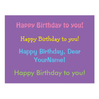Happy Birthday Song Colorful Customizable Postcard