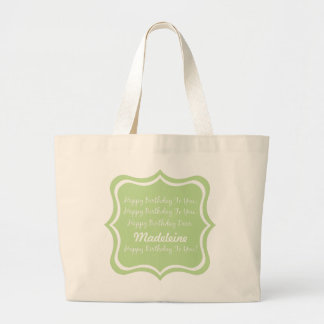 Happy Birthday Song on Mint Green Personalized Large Tote Bag