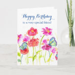 "Happy Birthday Special Friend Blue Butterflies Card<br><div class=""desc"">A bright and cheerful birthday card to a very special friend decorated with colorful wildflowers painted in shades of pink and red watercolor with blue butterflies.  Lovely way to say happy birthday!</div>"