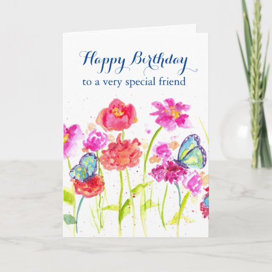 Happy Birthday Special Friend Blue Butterflies Card Zazzle