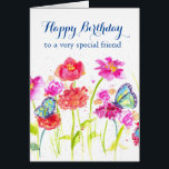 """Happy Birthday Special Friend Blue Butterflies Card<br><div class=""""desc"""">A bright and cheerful birthday card to a very special friend decorated with colorful wildflowers painted in shades of pink and red watercolor with blue butterflies.  Lovely way to say happy birthday!</div>"""
