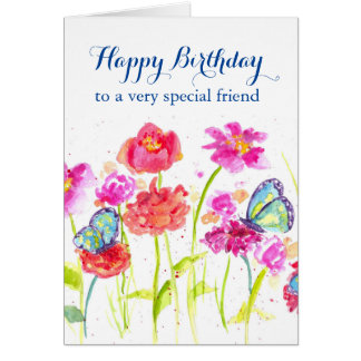 Happy Birthday Special Friend Blue Butterflies Card