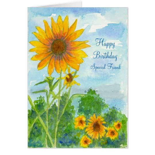 Happy Birthday Special Friend Sunflower Watercolor Card – Birthday Special Card