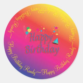 Happy Birthday Spectrum Custom Classic Round Sticker