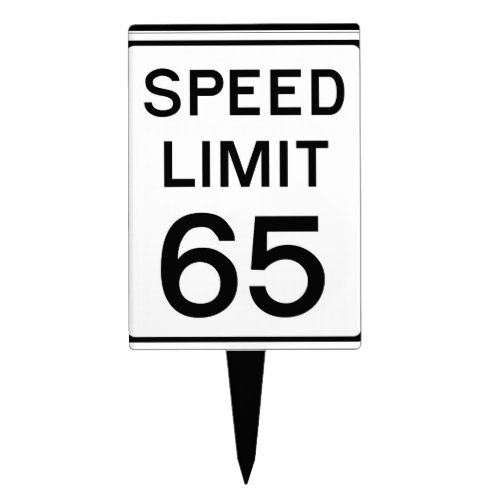 Happy Birthday Speed Limit 65 Sign _ Cake Topper