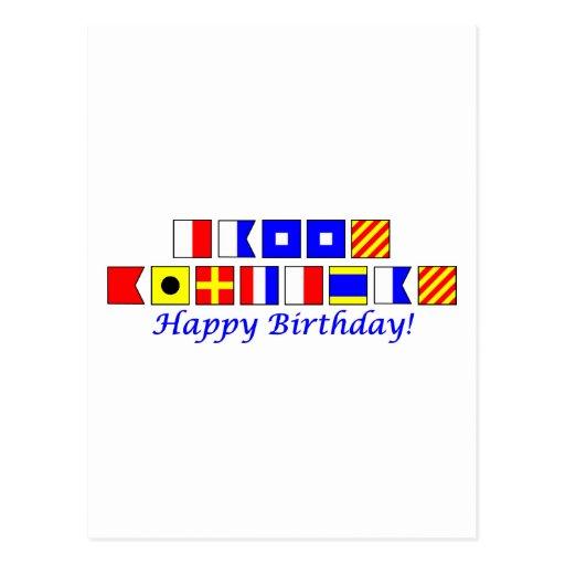 Happy Birthday spelled in nautical flag alphabet Postcard