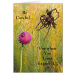 Happy Birthday Spider and Bee Warning Card
